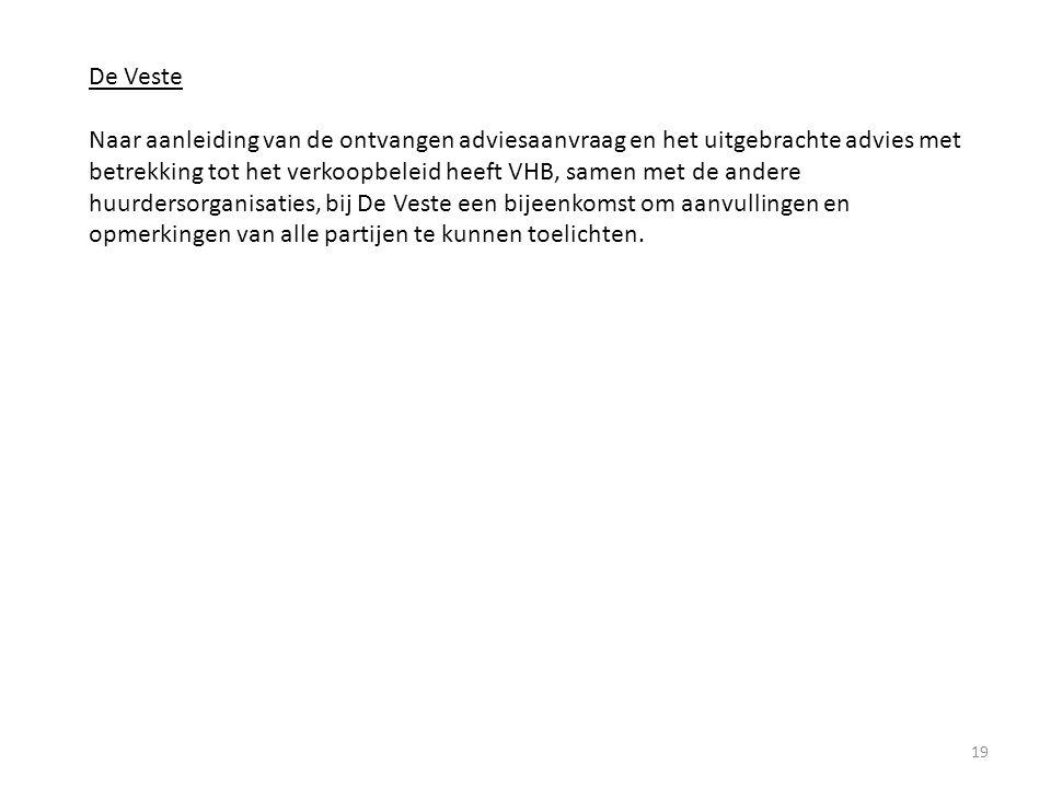 19 De Veste Naar aanleiding van de ontvangen adviesaanvraag en het uitgebrachte advies met betrekking tot het verkoopbeleid heeft VHB, samen met de andere huurdersorganisaties, bij De Veste een bijeenkomst om aanvullingen en opmerkingen van alle partijen te kunnen toelichten.