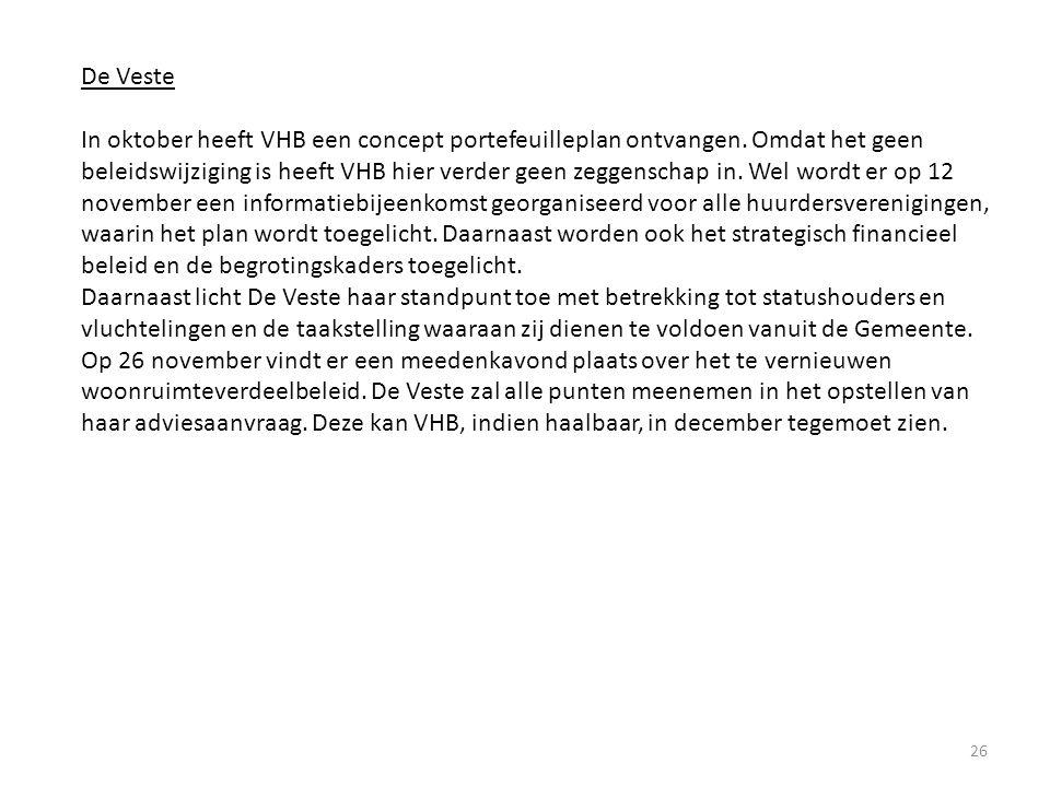 26 De Veste In oktober heeft VHB een concept portefeuilleplan ontvangen. Omdat het geen beleidswijziging is heeft VHB hier verder geen zeggenschap in.