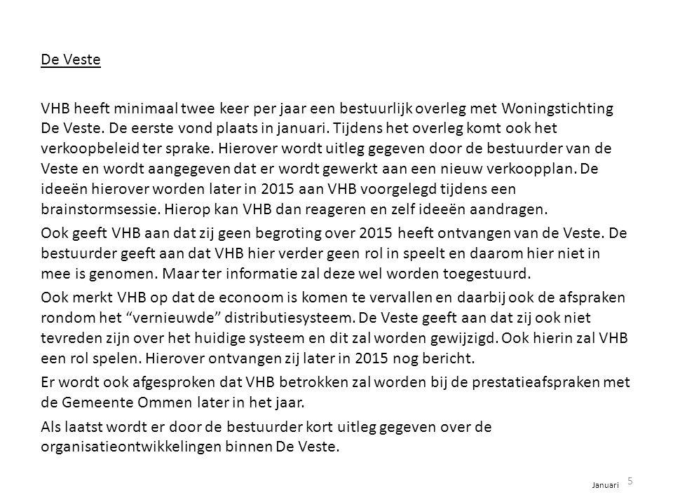 De Veste VHB heeft minimaal twee keer per jaar een bestuurlijk overleg met Woningstichting De Veste. De eerste vond plaats in januari. Tijdens het ove