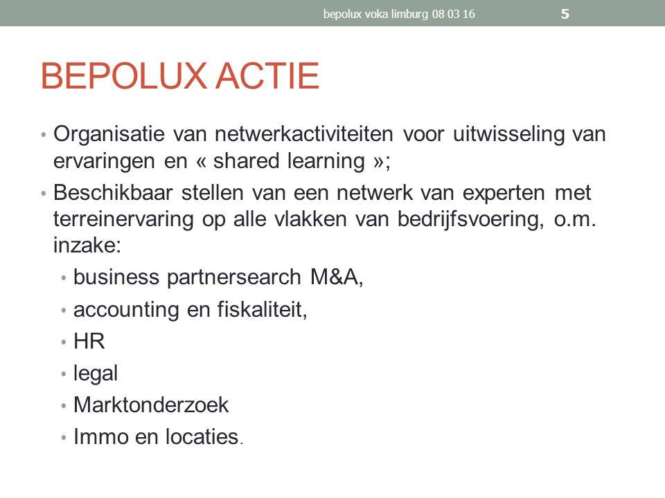 BEPOLUX ACTIE Organisatie van netwerkactiviteiten voor uitwisseling van ervaringen en « shared learning »; Beschikbaar stellen van een netwerk van experten met terreinervaring op alle vlakken van bedrijfsvoering, o.m.