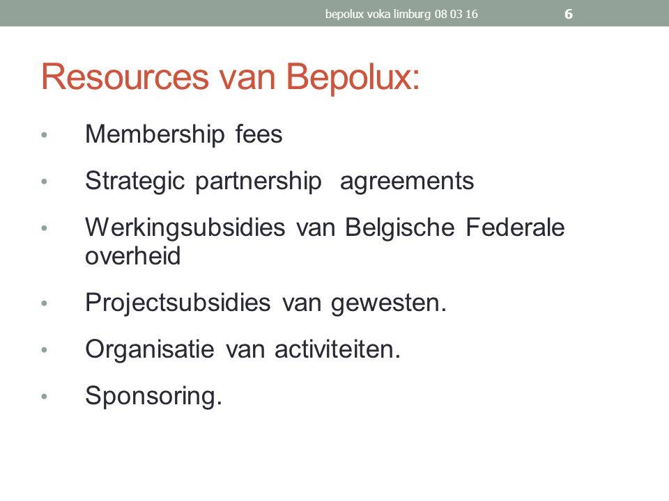 Resources van Bepolux: Membership fees Strategic partnership agreements Werkingsubsidies van Belgische Federale overheid Projectsubsidies van gewesten.