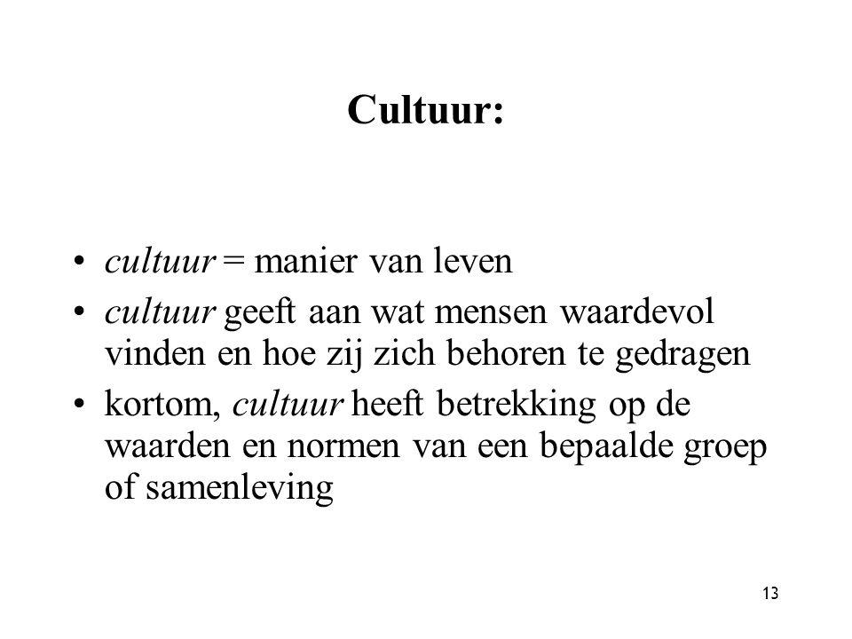 13 Cultuur: cultuur = manier van leven cultuur geeft aan wat mensen waardevol vinden en hoe zij zich behoren te gedragen kortom, cultuur heeft betrekk