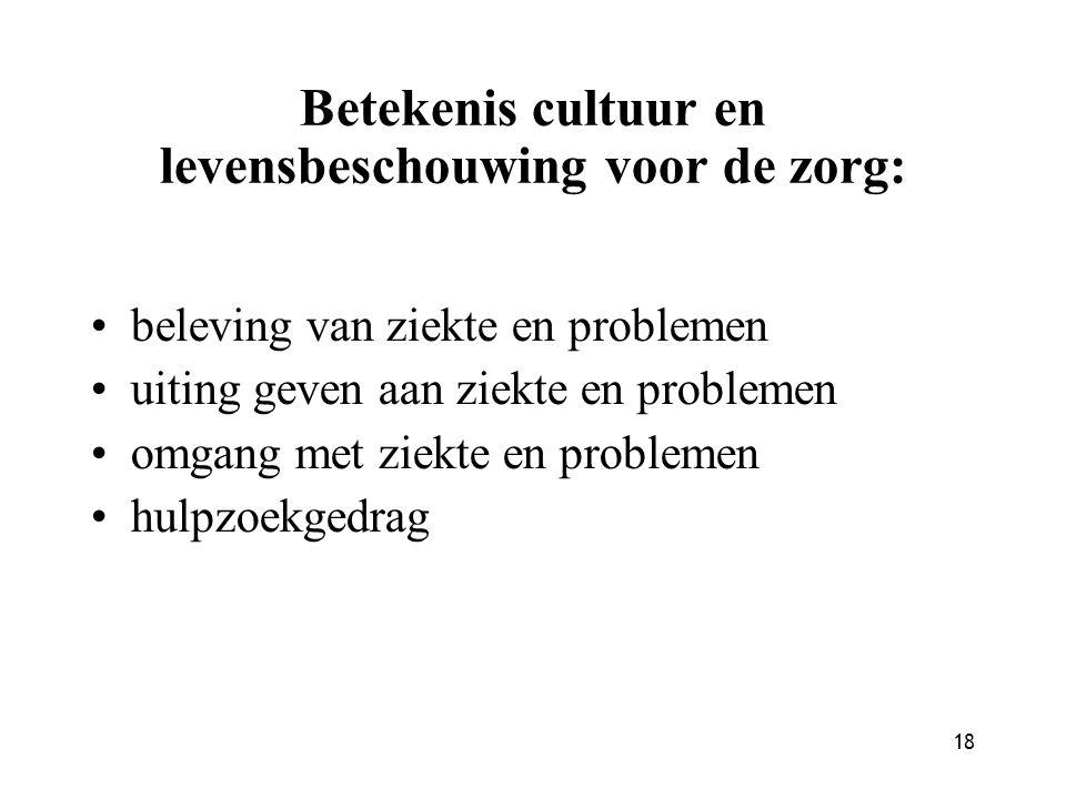 18 Betekenis cultuur en levensbeschouwing voor de zorg: beleving van ziekte en problemen uiting geven aan ziekte en problemen omgang met ziekte en pro