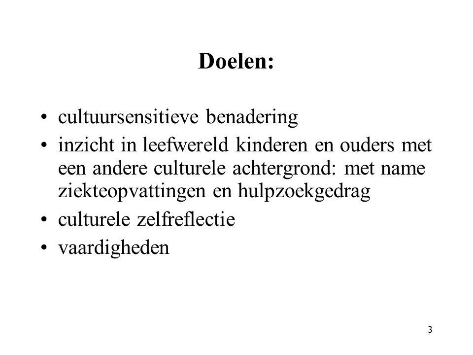 3 Doelen: cultuursensitieve benadering inzicht in leefwereld kinderen en ouders met een andere culturele achtergrond: met name ziekteopvattingen en hu