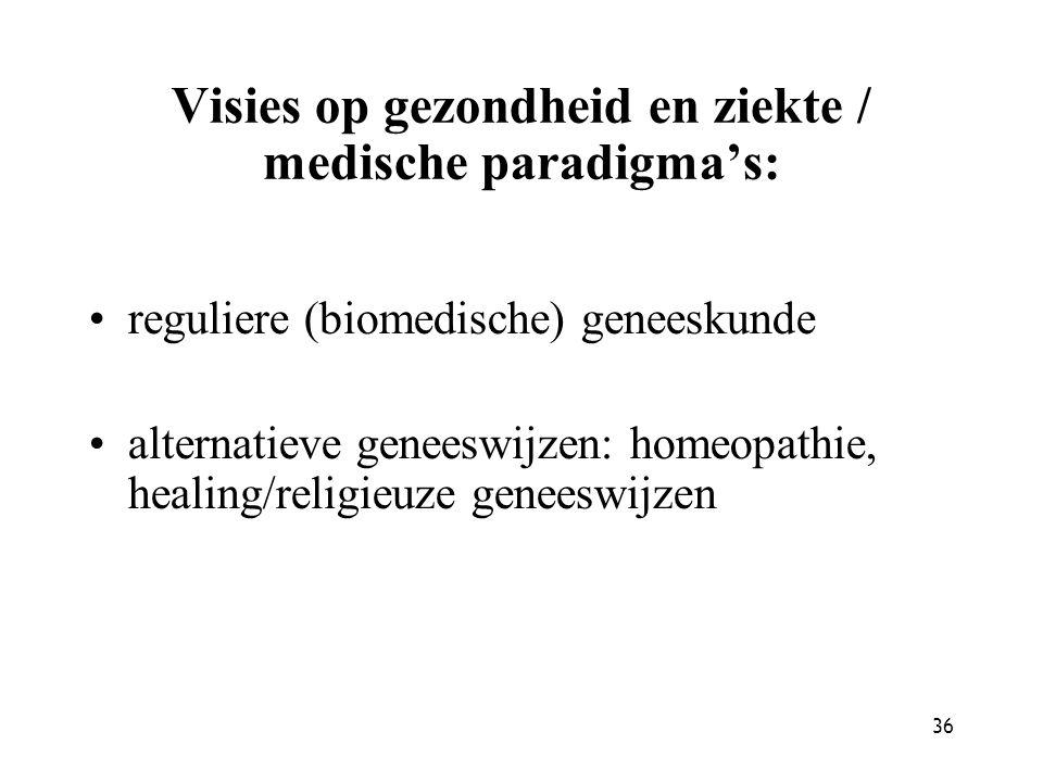 36 Visies op gezondheid en ziekte / medische paradigma's: reguliere (biomedische) geneeskunde alternatieve geneeswijzen: homeopathie, healing/religieu