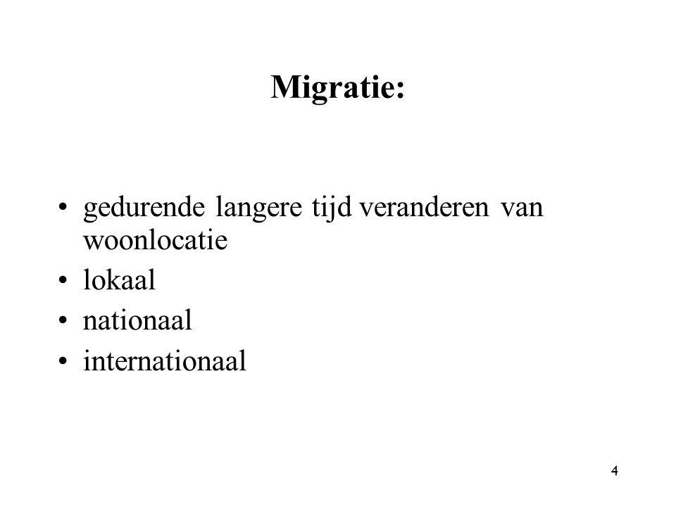 4 Migratie: gedurende langere tijd veranderen van woonlocatie lokaal nationaal internationaal