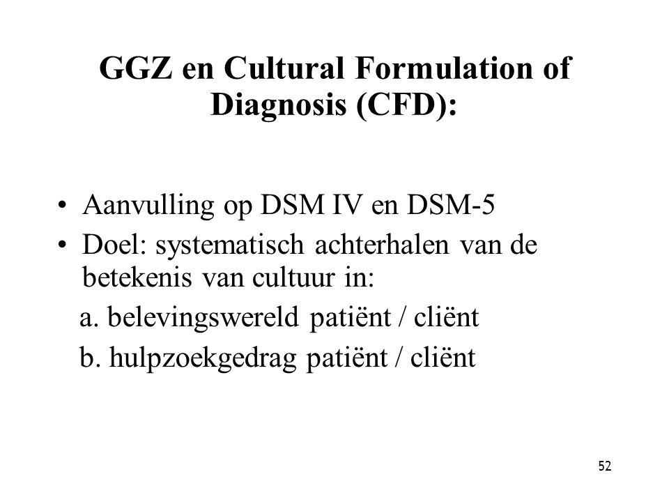 52 GGZ en Cultural Formulation of Diagnosis (CFD): Aanvulling op DSM IV en DSM-5 Doel: systematisch achterhalen van de betekenis van cultuur in: a. be