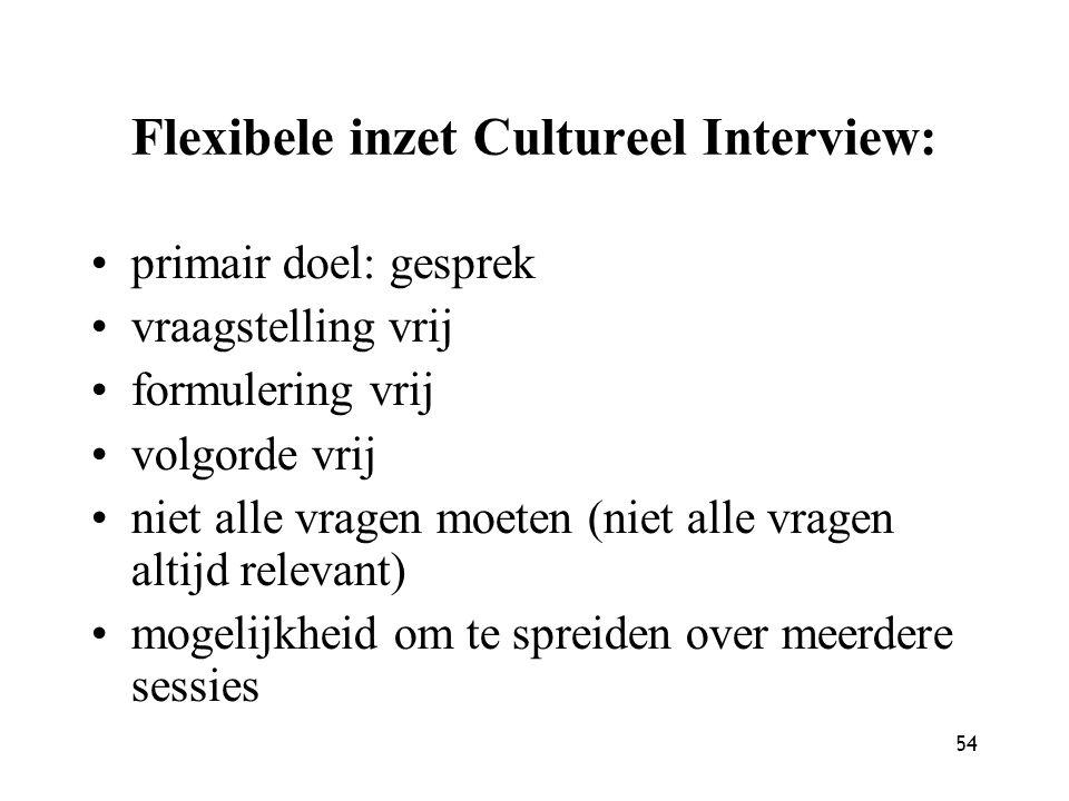 54 Flexibele inzet Cultureel Interview: primair doel: gesprek vraagstelling vrij formulering vrij volgorde vrij niet alle vragen moeten (niet alle vra