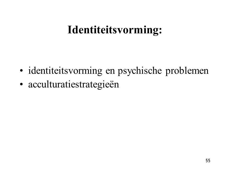 55 Identiteitsvorming: identiteitsvorming en psychische problemen acculturatiestrategieën