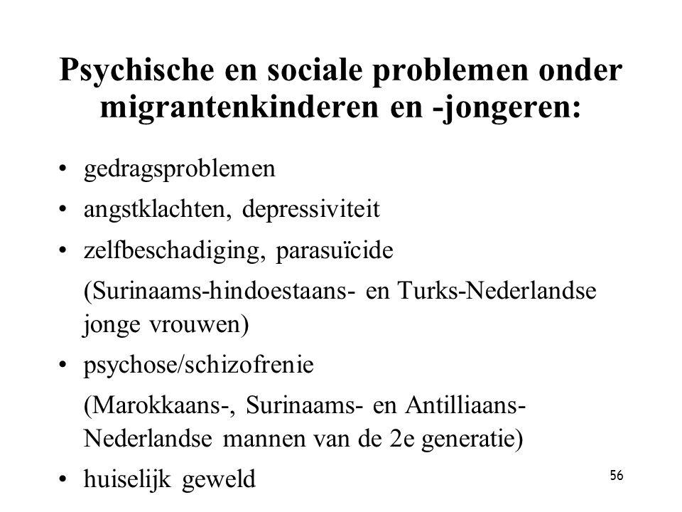 56 Psychische en sociale problemen onder migrantenkinderen en -jongeren: gedragsproblemen angstklachten, depressiviteit zelfbeschadiging, parasuïcide