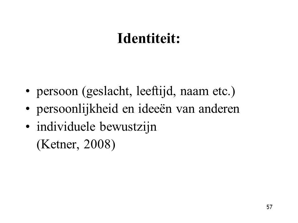 57 Identiteit: persoon (geslacht, leeftijd, naam etc.) persoonlijkheid en ideeën van anderen individuele bewustzijn (Ketner, 2008)
