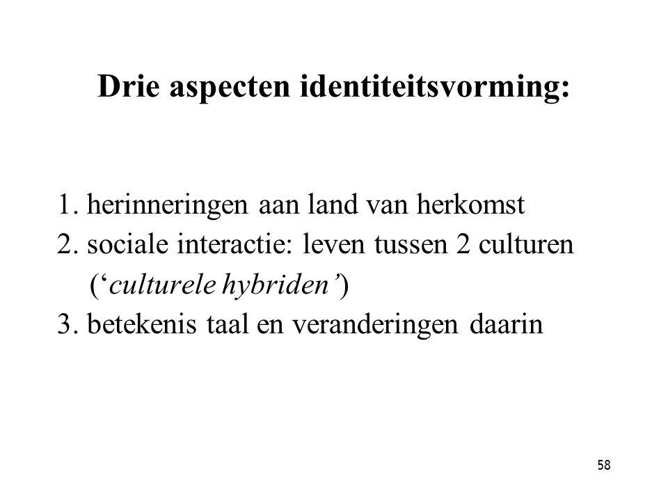 58 Drie aspecten identiteitsvorming: 1. herinneringen aan land van herkomst 2. sociale interactie: leven tussen 2 culturen ('culturele hybriden') 3. b
