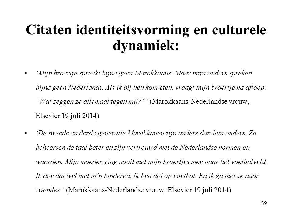 59 Citaten identiteitsvorming en culturele dynamiek: 'Mijn broertje spreekt bijna geen Marokkaans. Maar mijn ouders spreken bijna geen Nederlands. Als