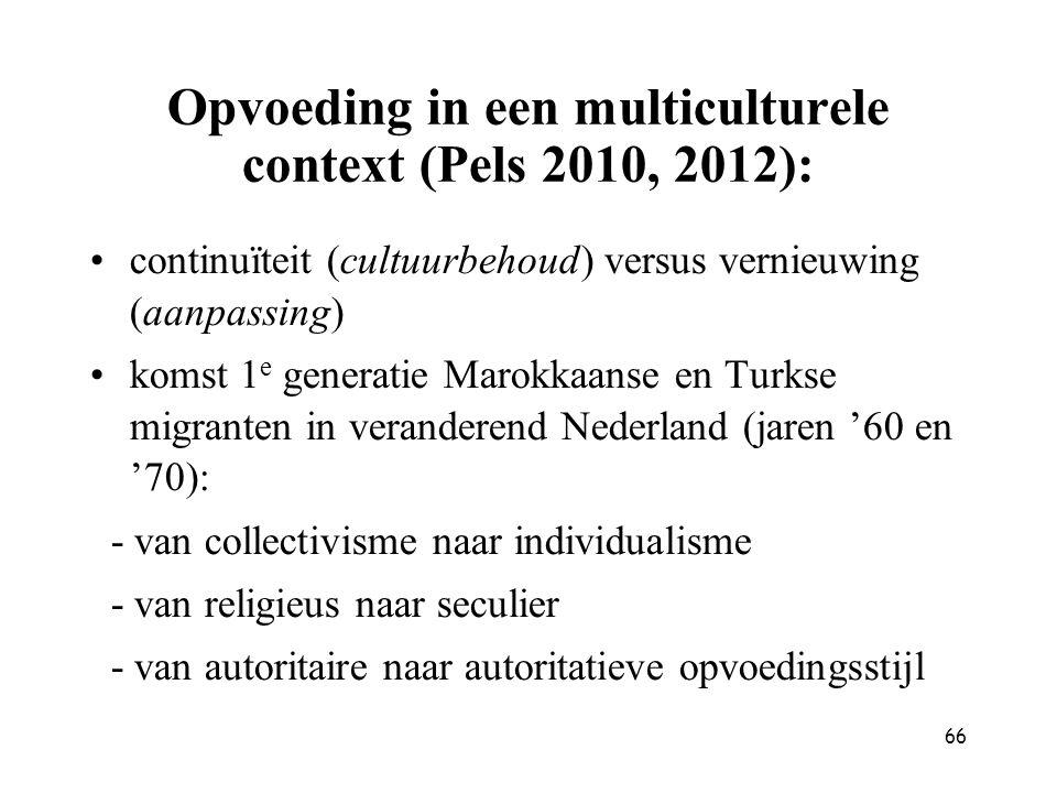 66 Opvoeding in een multiculturele context (Pels 2010, 2012): continuïteit (cultuurbehoud) versus vernieuwing (aanpassing) komst 1 e generatie Marokka