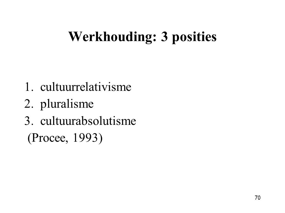 70 Werkhouding: 3 posities 1.cultuurrelativisme 2.pluralisme 3.cultuurabsolutisme (Procee, 1993)