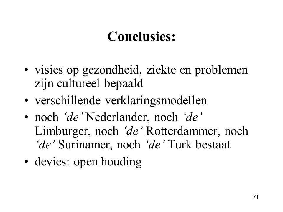 71 Conclusies: visies op gezondheid, ziekte en problemen zijn cultureel bepaald verschillende verklaringsmodellen noch 'de' Nederlander, noch 'de' Lim