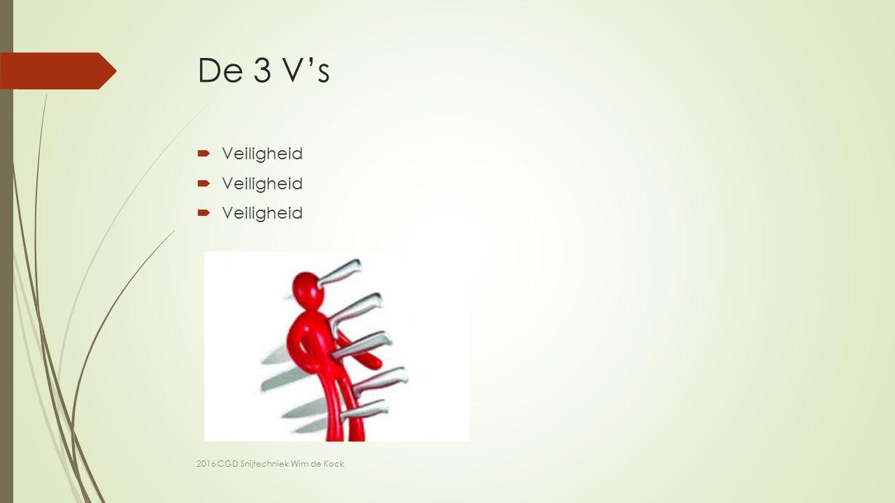 De 3 V's  Veiligheid 2016 CGD Snijtechniek Wim de Kock