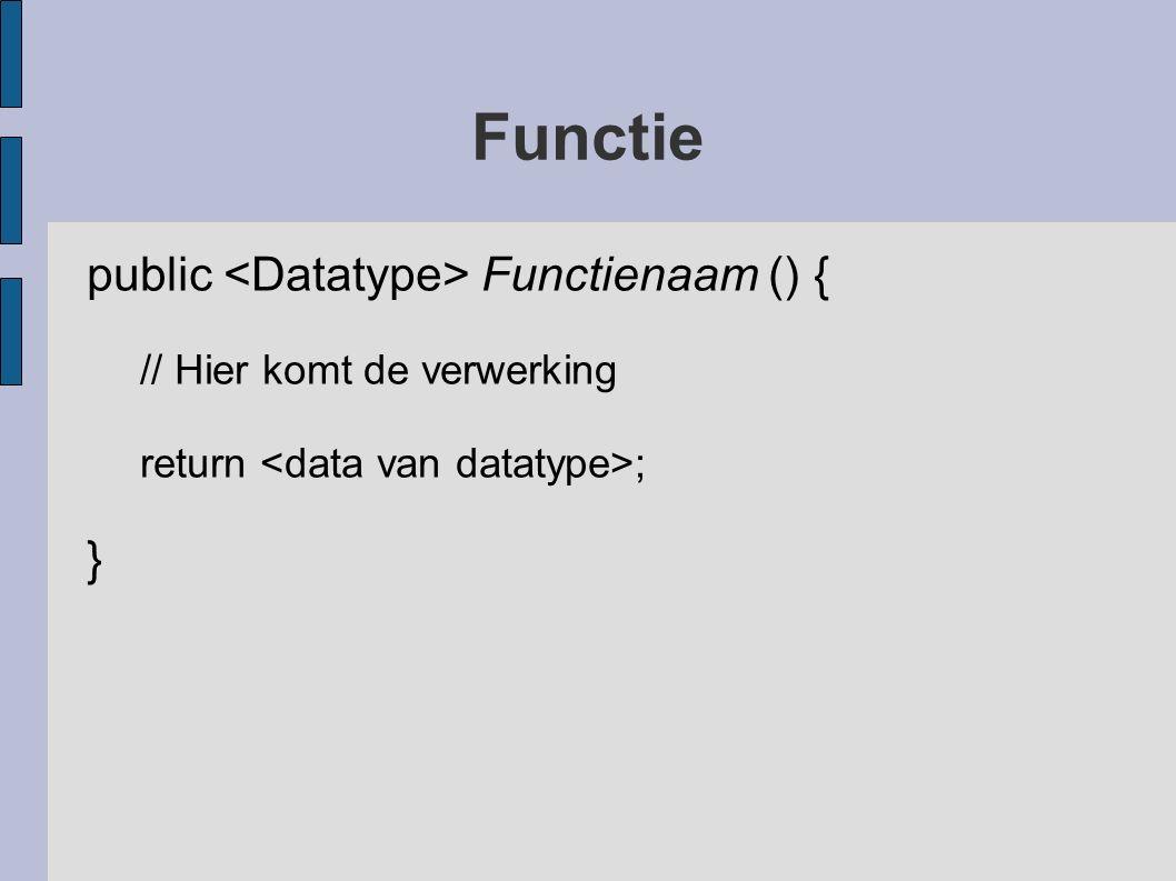 Functie public Functienaam () { // Hier komt de verwerking return ; }
