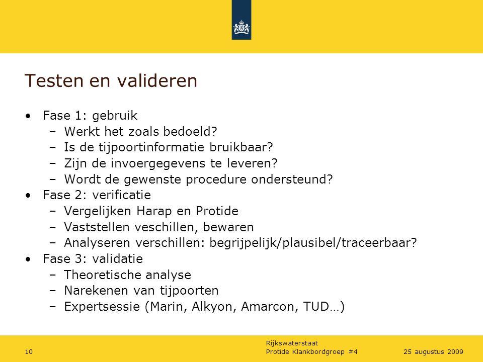 Rijkswaterstaat Protide Klankbordgroep #41025 augustus 2009 Testen en valideren Fase 1: gebruik –Werkt het zoals bedoeld.