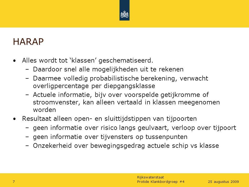 Rijkswaterstaat Protide Klankbordgroep #4725 augustus 2009 HARAP Alles wordt tot 'klassen' geschematiseerd.