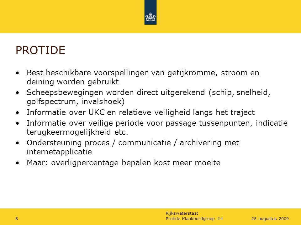 Rijkswaterstaat Protide Klankbordgroep #4925 augustus 2009 Presentatie /demonstratie Protide -versie 'Factory tested' Werkend model, berekent echte tijpoorten Nu: experimenteren 'op de werkvloer'  Karsten!