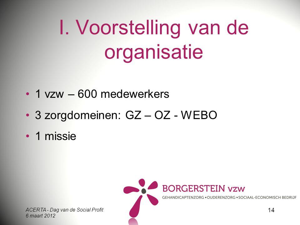 ACERTA - Dag van de Social Profit 6 maart 2012 14 I. Voorstelling van de organisatie 1 vzw – 600 medewerkers 3 zorgdomeinen: GZ – OZ - WEBO 1 missie