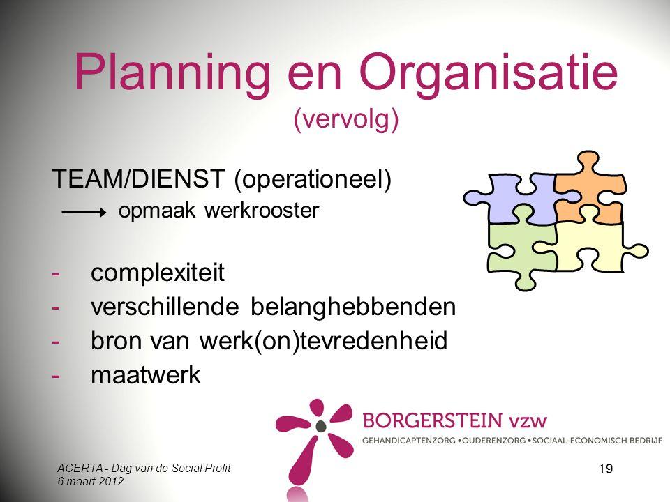 ACERTA - Dag van de Social Profit 6 maart 2012 19 Planning en Organisatie (vervolg) TEAM/DIENST (operationeel) opmaak werkrooster -complexiteit -versc