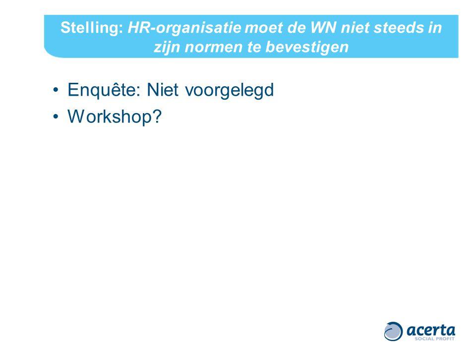 Stelling: HR-organisatie moet de WN niet steeds in zijn normen te bevestigen Enquête: Niet voorgelegd Workshop?