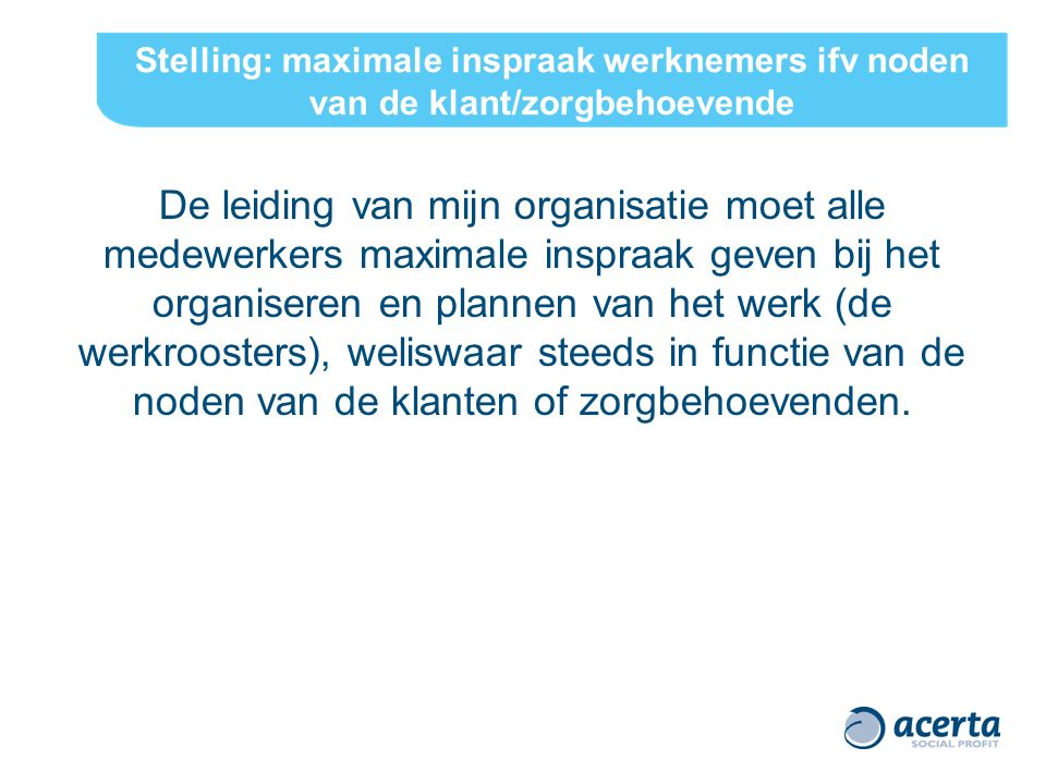 ACERTA - Dag van de Social Profit 6 maart 2012 19 Planning en Organisatie (vervolg) TEAM/DIENST (operationeel) opmaak werkrooster -complexiteit -verschillende belanghebbenden -bron van werk(on)tevredenheid -maatwerk