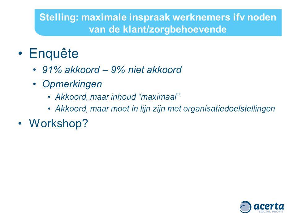 "Stelling: maximale inspraak werknemers ifv noden van de klant/zorgbehoevende Enquête 91% akkoord – 9% niet akkoord Opmerkingen Akkoord, maar inhoud ""m"