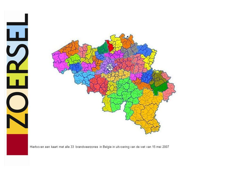 Hierboven een kaart met alle 33 brandweerzones in Belgïe in uitvoering van de wet van 15 mei 2007