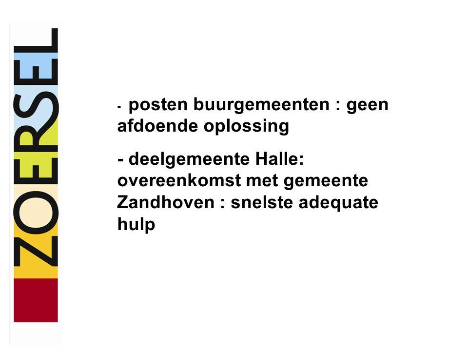 - posten buurgemeenten : geen afdoende oplossing - deelgemeente Halle: overeenkomst met gemeente Zandhoven : snelste adequate hulp
