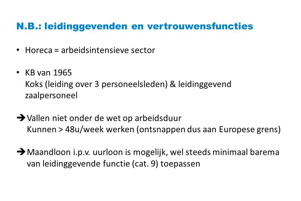 N.B.: leidinggevenden en vertrouwensfuncties Horeca = arbeidsintensieve sector KB van 1965 Koks (leiding over 3 personeelsleden) & leidinggevend zaalpersoneel  Vallen niet onder de wet op arbeidsduur Kunnen > 48u/week werken (ontsnappen dus aan Europese grens)  Maandloon i.p.v.