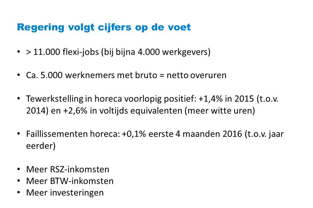 Regering volgt cijfers op de voet > 11.000 flexi-jobs (bij bijna 4.000 werkgevers) Ca.