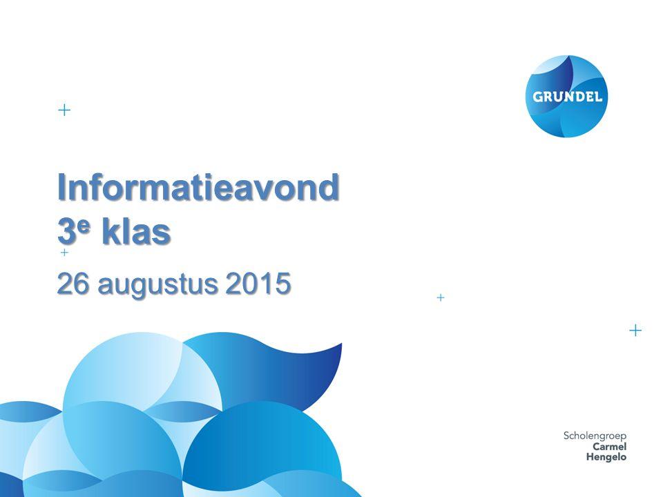Informatieavond 3 e klas 26 augustus 2015