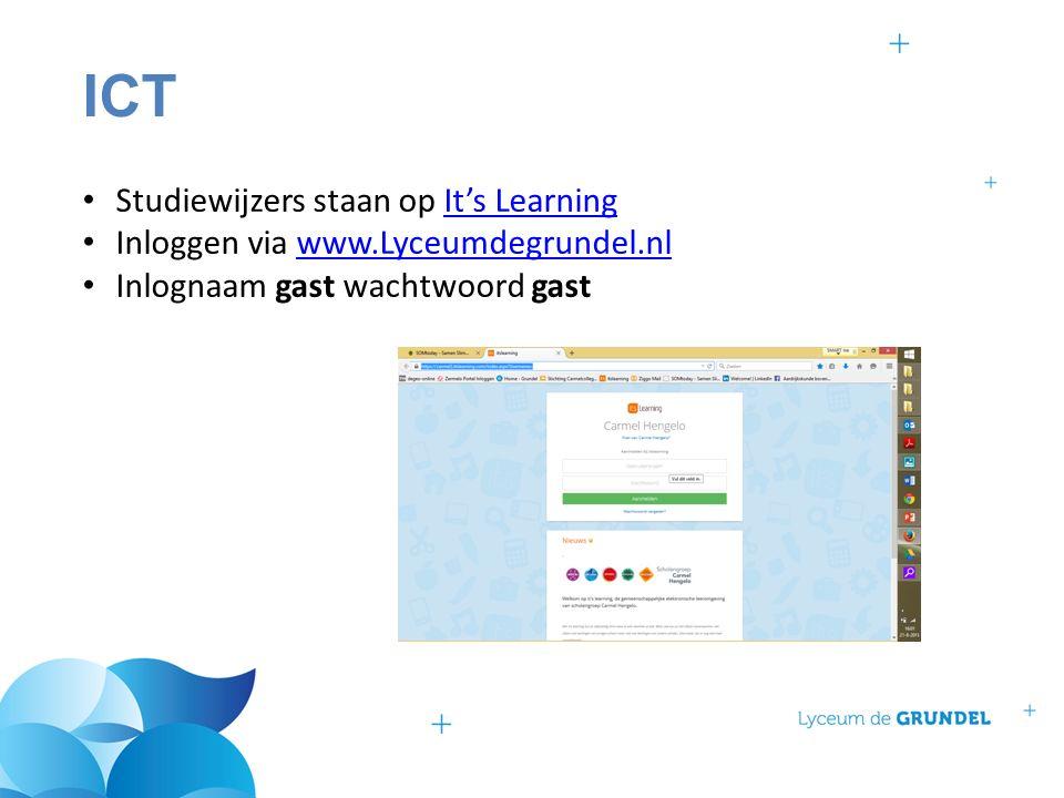 ICT Studiewijzers staan op It's LearningIt's Learning Inloggen via www.Lyceumdegrundel.nlwww.Lyceumdegrundel.nl Inlognaam gast wachtwoord gast