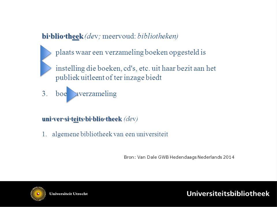 bi·blio·theek bi·blio·theek (dev; meervoud: bibliotheken) 1.plaats waar een verzameling boeken opgesteld is 2.instelling die boeken, cd s, etc.