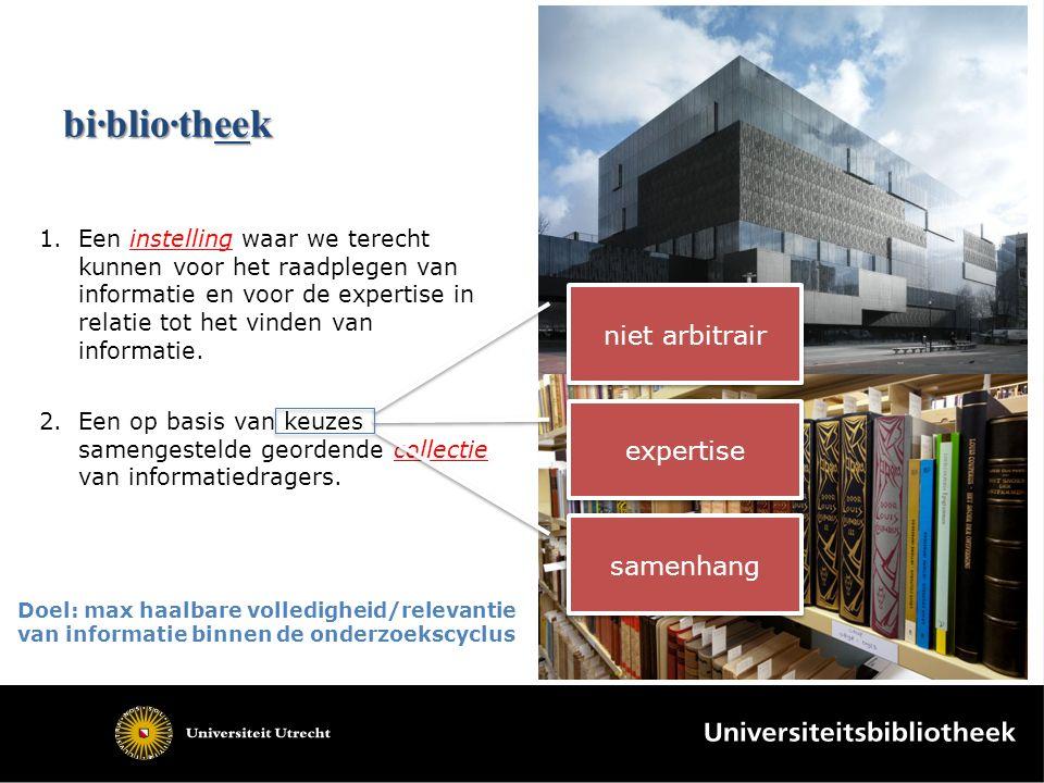 bi·blio·theek 1.Een instelling waar we terecht kunnen voor het raadplegen van informatie en voor de expertise in relatie tot het vinden van informatie