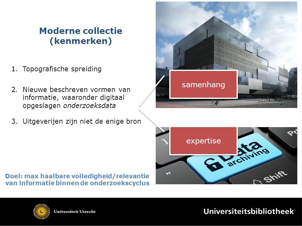 Moderne collectie (kenmerken) 1.Topografische spreiding 2.Nieuwe beschreven vormen van informatie, waaronder digitaal opgeslagen onderzoeksdata 3.Uitg