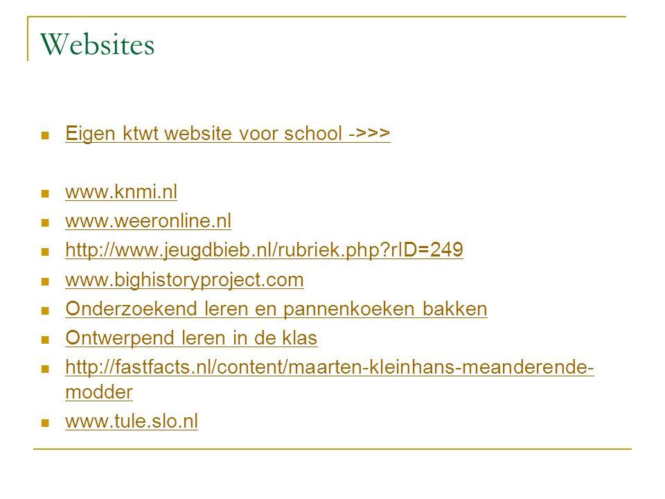 Websites Eigen ktwt website voor school ->>> www.knmi.nl www.weeronline.nl http://www.jeugdbieb.nl/rubriek.php rID=249 www.bighistoryproject.com Onderzoekend leren en pannenkoeken bakken Ontwerpend leren in de klas http://fastfacts.nl/content/maarten-kleinhans-meanderende- modder http://fastfacts.nl/content/maarten-kleinhans-meanderende- modder www.tule.slo.nl