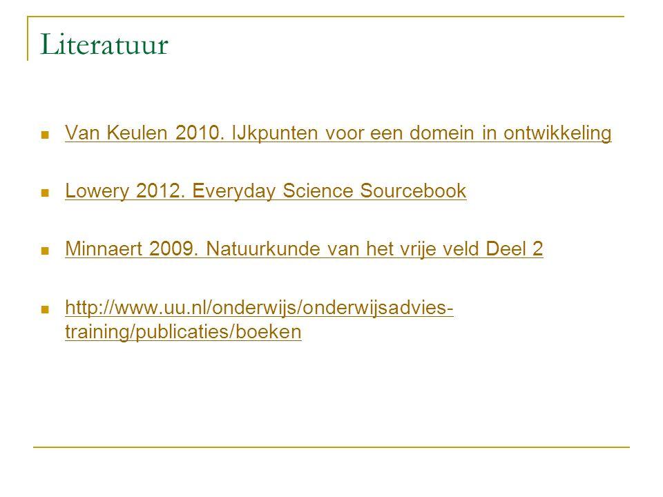 Literatuur Van Keulen 2010. IJkpunten voor een domein in ontwikkeling Lowery 2012.