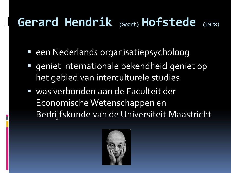 Gerard Hendrik (Geert) Hofstede (1928)  een Nederlands organisatiepsycholoog  geniet internationale bekendheid geniet op het gebied van interculture