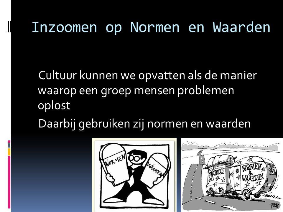 Inzoomen op Normen en Waarden Cultuur kunnen we opvatten als de manier waarop een groep mensen problemen oplost Daarbij gebruiken zij normen en waarde