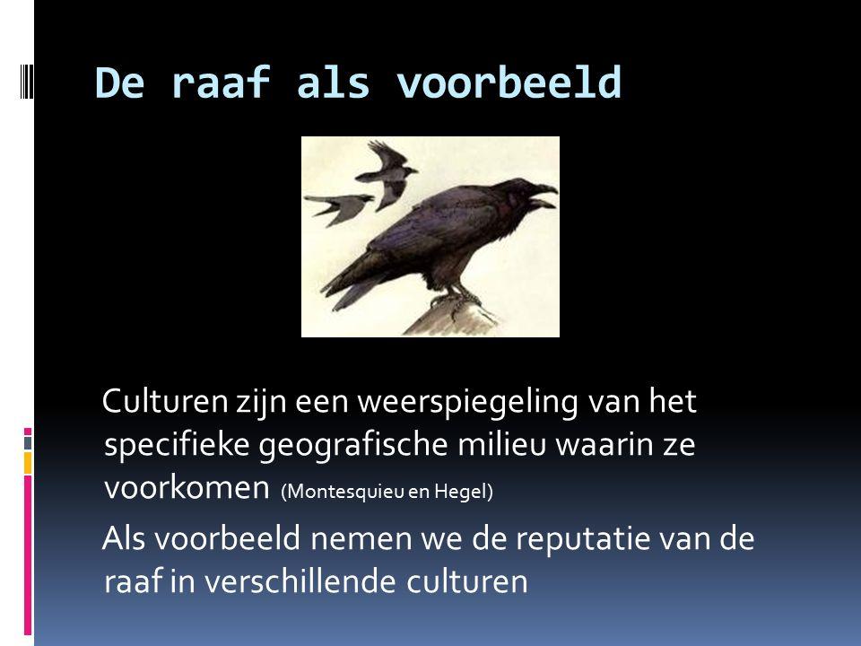 De raaf als voorbeeld Culturen zijn een weerspiegeling van het specifieke geografische milieu waarin ze voorkomen (Montesquieu en Hegel) Als voorbeeld