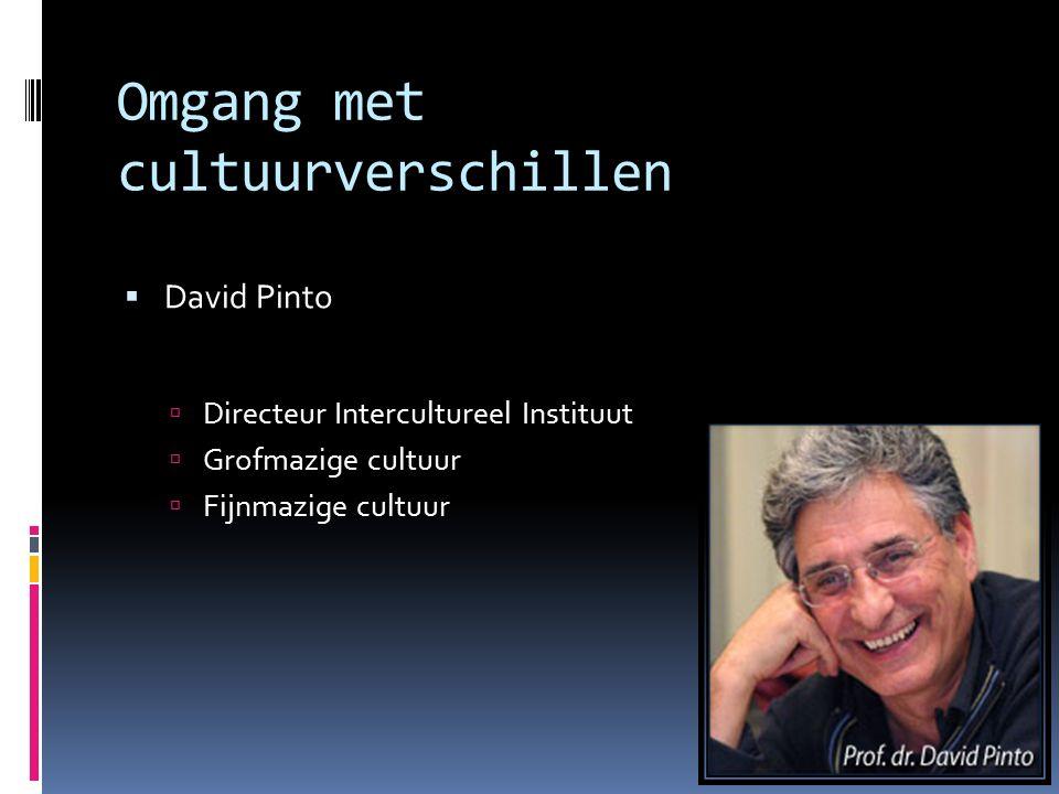 Omgang met cultuurverschillen  David Pinto  Directeur Intercultureel Instituut  Grofmazige cultuur  Fijnmazige cultuur