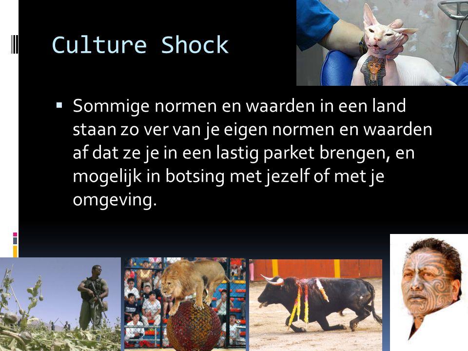 Culture Shock  Sommige normen en waarden in een land staan zo ver van je eigen normen en waarden af dat ze je in een lastig parket brengen, en mogeli