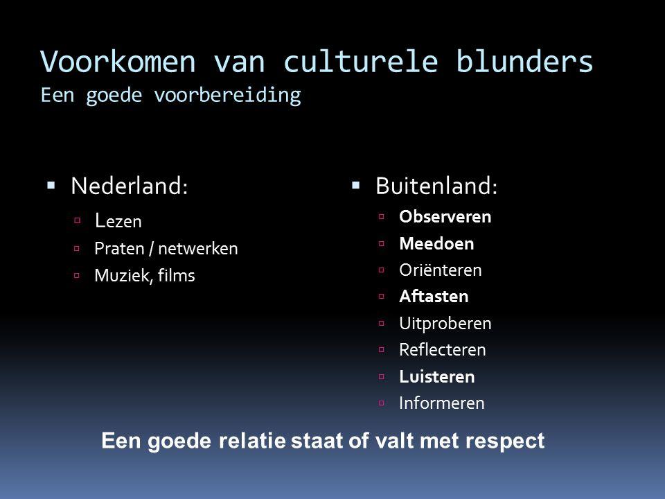 Voorkomen van culturele blunders Een goede voorbereiding  Nederland:  L ezen  Praten / netwerken  Muziek, films  Buitenland:  Observeren  Meedo
