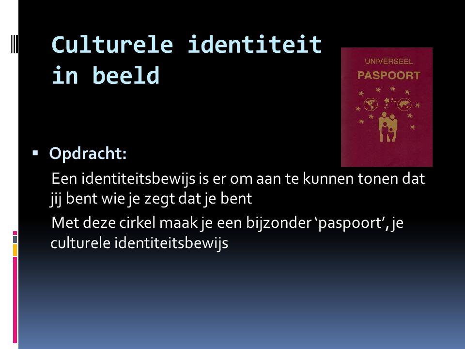 Culturele identiteit in beeld  Opdracht: Een identiteitsbewijs is er om aan te kunnen tonen dat jij bent wie je zegt dat je bent Met deze cirkel maak