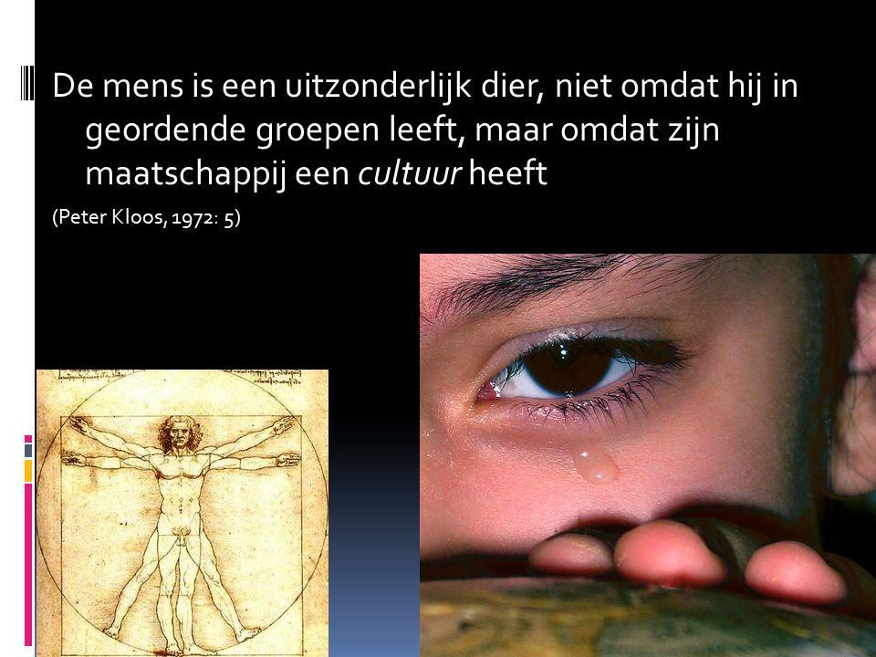 De mens is een uitzonderlijk dier, niet omdat hij in geordende groepen leeft, maar omdat zijn maatschappij een cultuur heeft (Peter Kloos, 1972: 5)