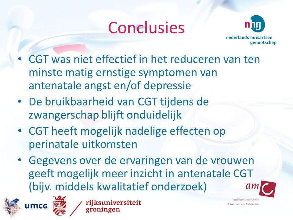Conclusies CGT was niet effectief in het reduceren van ten minste matig ernstige symptomen van antenatale angst en/of depressie De bruikbaarheid van CGT tijdens de zwangerschap blijft onduidelijk CGT heeft mogelijk nadelige effecten op perinatale uitkomsten Gegevens over de ervaringen van de vrouwen geeft mogelijk meer inzicht in antenatale CGT (bijv.